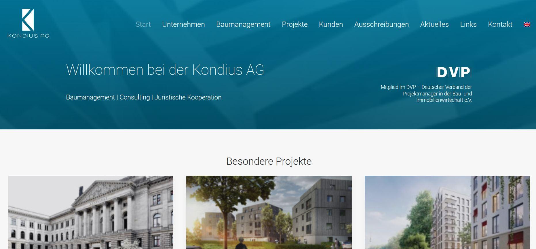 Kondius - Screen Webseite